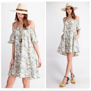 Dresses & Skirts - BETH OFF THE SHOULDER FLORAL RUFFLE SLEEVE DRESS!
